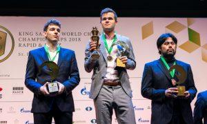 De tre beste i VM i lynsjakk 2018