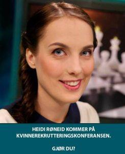 Heidi Røneid kommer på kvinnerekrutteringskonferansen