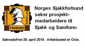Norges Sjakkforbund søker prosjektmedarbeidere til Sjakk og Samfunn
