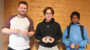 De tre beste i Sotra SKs klubbmesterskap i lynsjakk