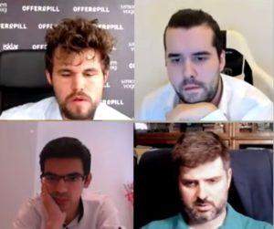 De fire semifinalistene: Carlsen, Nepomniachtchi, Giri og Svidler