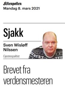 Sven Wisløff-Nilssen skriver for Aftenposten