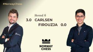 Carlsen slo Firoujza og tok sin første trepoenger